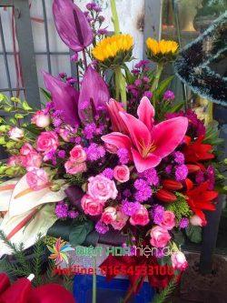 Giỏ hoa màu tím mộng mớ - DH134