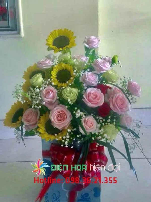 Giỏ hoa hồng lá bay - DH324