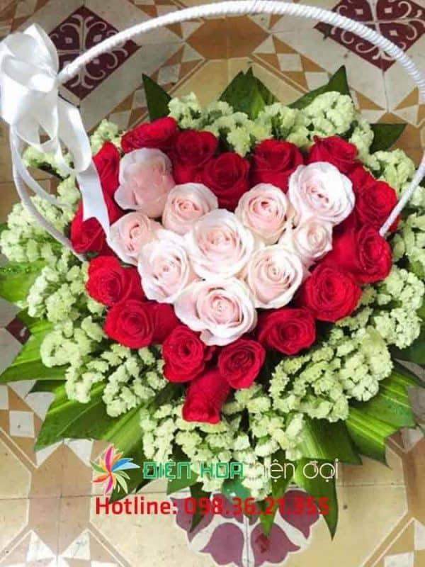Giỏ hoa hồng trái tim yêu - DH337